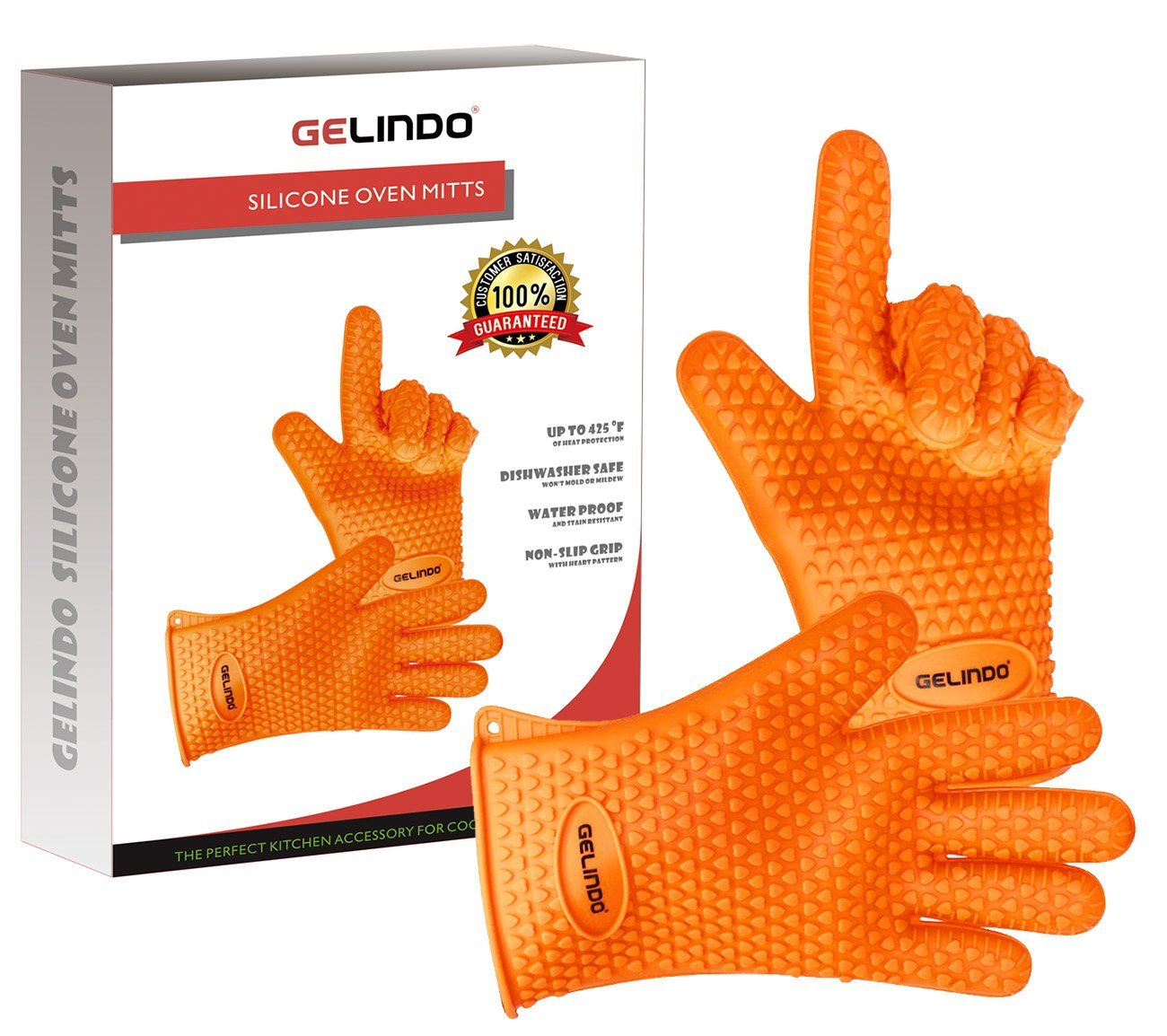 Gelindo Silicone Oven Mitts, 1 Pair, FDA Approved BBQ Insulated Gloves w/ 5-Finger Anti Slip Grip – Best for Grilling & Holding Hot Pots- Heat Resistant Up to 425° -Waterproof, BPA-Free & Eco-friendly