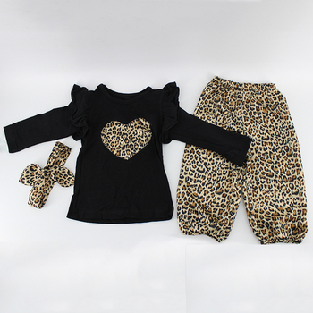 47c836862 Baby Girl Clothes Black Top Leopard Grain Pants With Plain Headband Fancy  Outfit