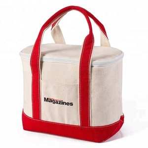 High Quality Low MOQ Custom Fitness Reusable No-leak Insulated Thermal Cooler Cotton Canvas Lunch Tote Bag