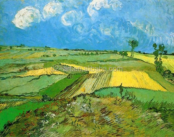 Decoration landscape art Wheat Fields at Auvers Under Clouded Sky by Van Gogh