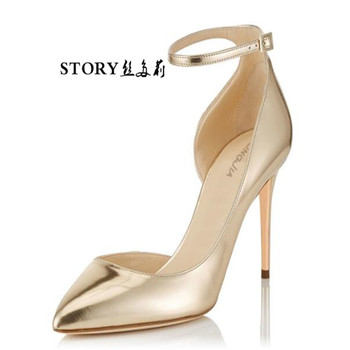 ecc22f4fcaaa fashion wedding bridesmaid party ol gold strappy hollow shiny pointed toe  stiletto pumps thin high heels