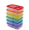 Premium Eco Friendly 3-Compartment Bento Lunch Box Containers for Kids, Multi Color, Microwave, Dishwasher Safe & Reusa