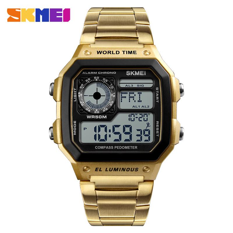 SKMEI 1382 Digital Watch Men Waterproof Pedometer Calorie Compass Multifunction Sport Clock Men's Wristwatch Male Watches Gold