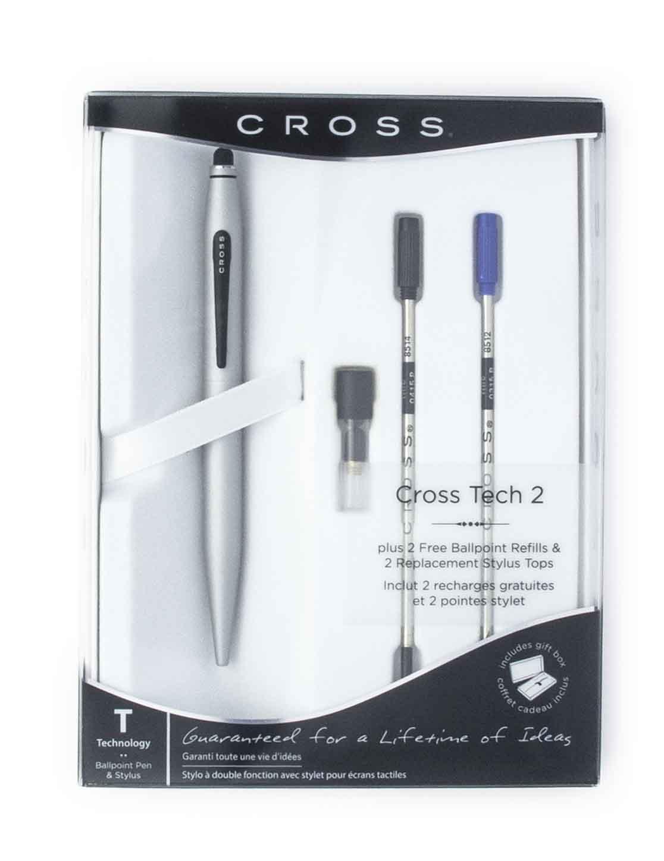 Cross Tech2 Ballpoint & Stylus Pen, Med Pt .7mm, Satin Chrome Barrel