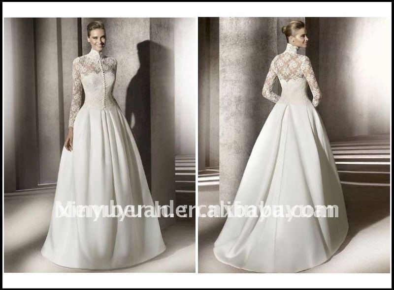 Simple Wedding Dresses With Lace Sleeves: Hot-2012-Romantic-Ball-Simple-Long-Lace-Sleeve-Jacket