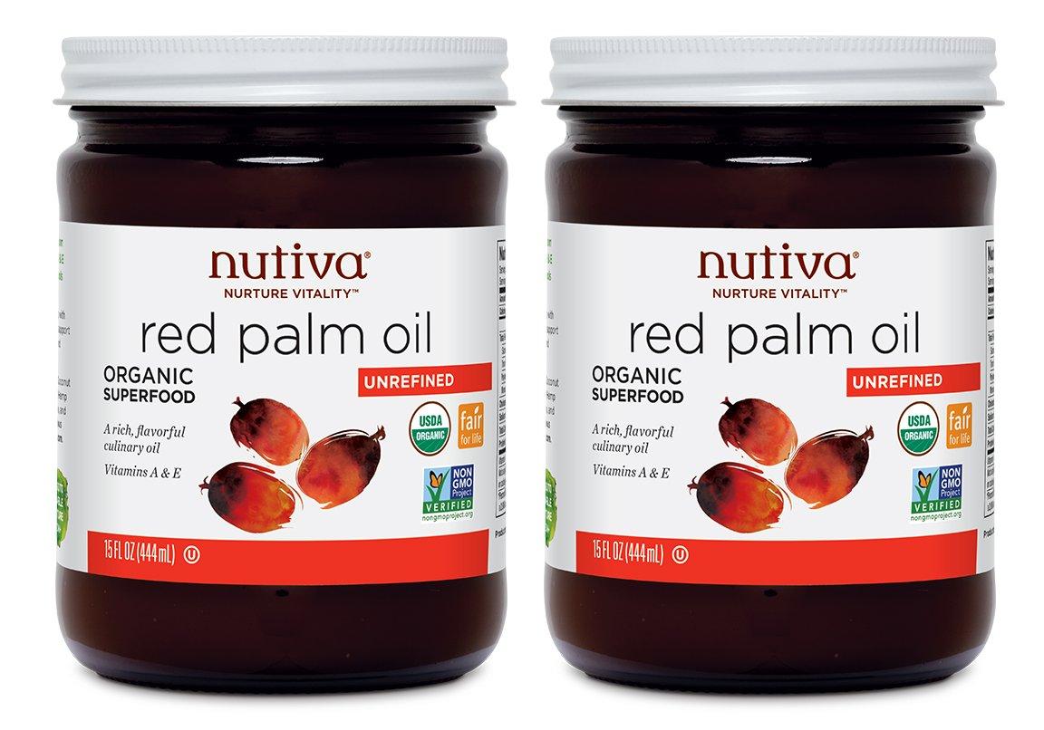Nutiva USDA Certified Organic, non-GMO, Cold-Filtered, Unrefined, Fair Trade Ecuadorian Red Palm Oil, 15 Ounce (Pack of 2)