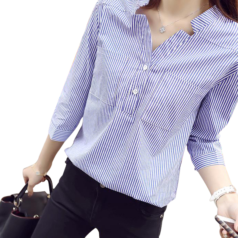 Blue And White Striped Blouse Womens Breeze Clothing