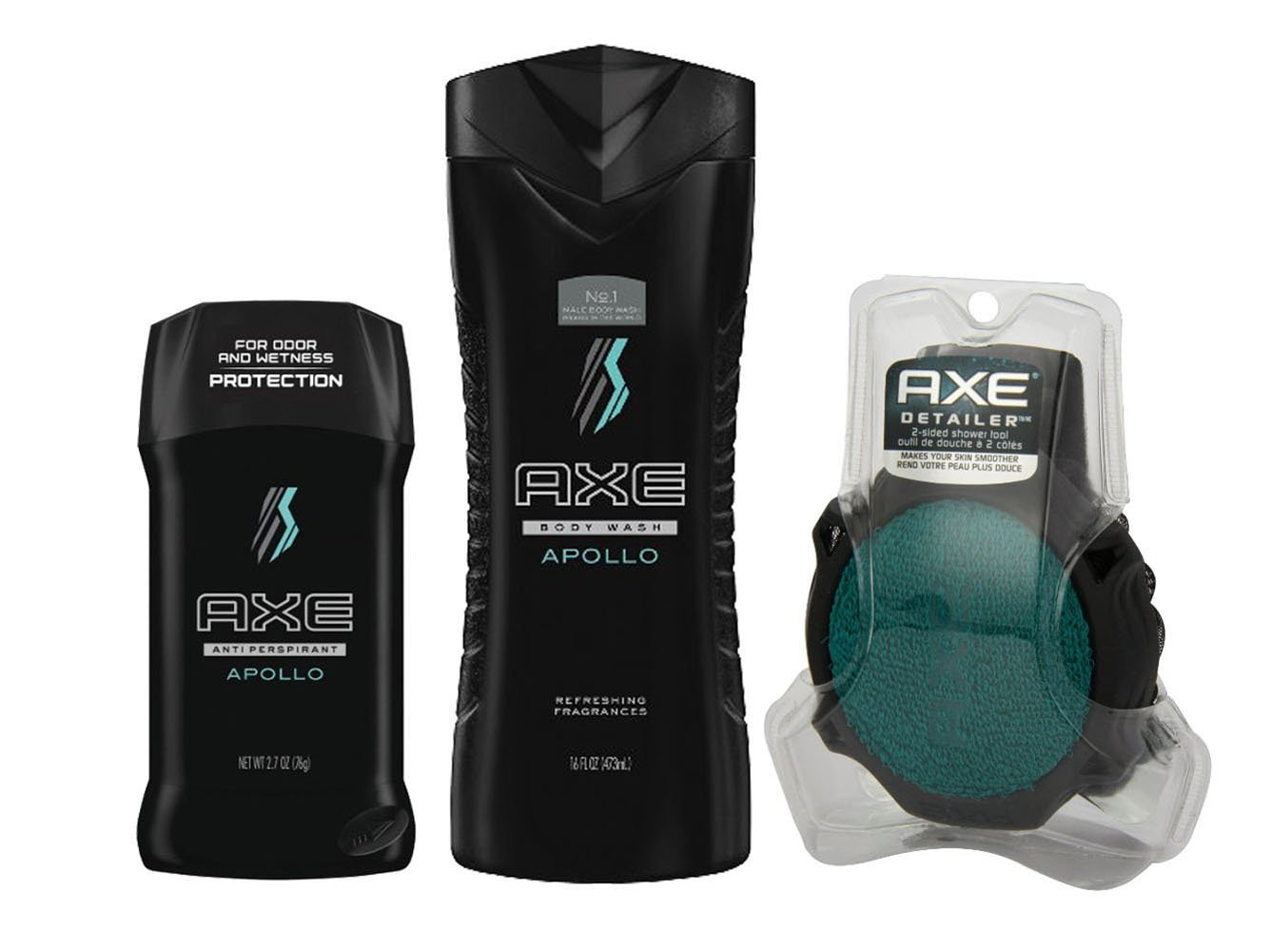 Axe Body Wash, Deodorant and 2-sided Detailer Bundle (3 items) (Appolo)