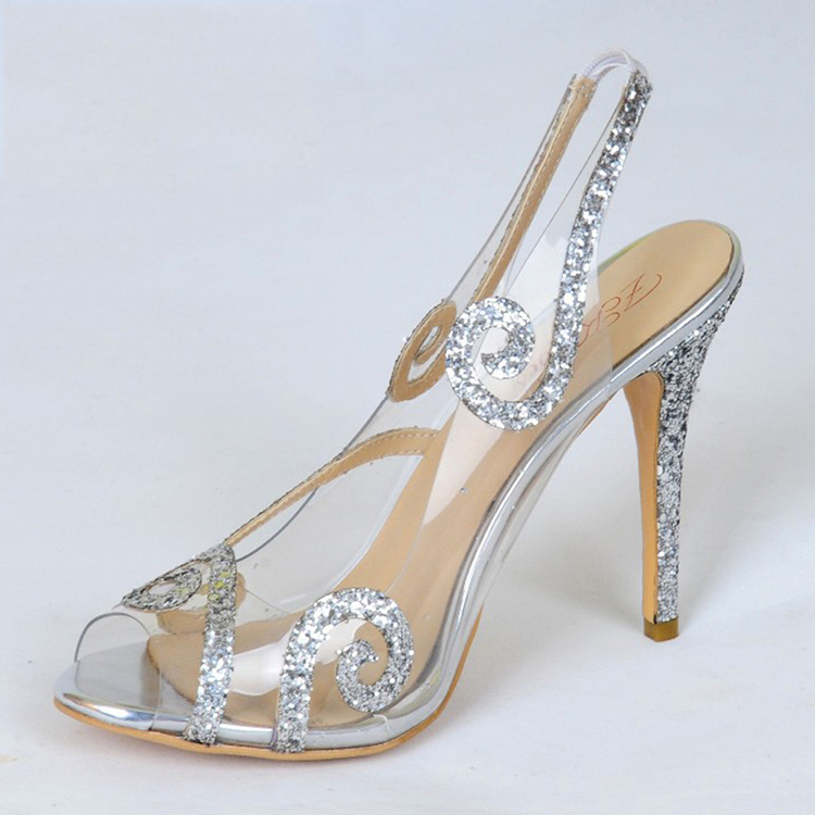 2017 european fashion China factory ODM glitter upper transparent high heel shoes female slingbacks <strong>sandals</strong>