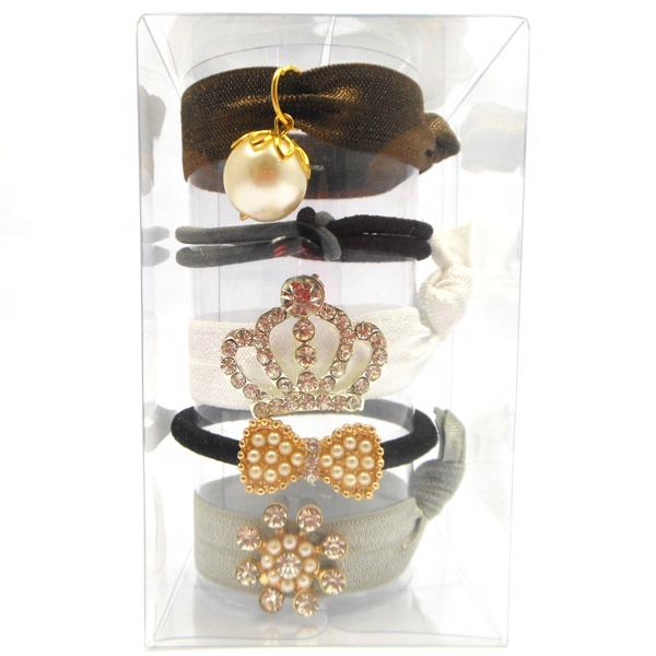 Fashionable Women Hair Accessories Black Hair Bobbles Thin Hair Tie With Rhinestones Gift Set
