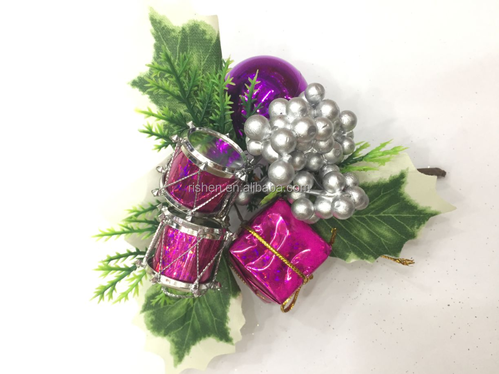 Wholesale christmas food picks decorative christmas picks purple present drum ornament
