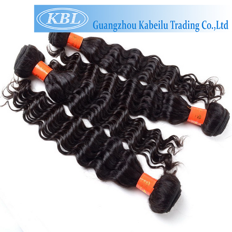 Low price ture length soft deep wave hairstyle for black women,hair extension Qingdao hair weft, real indian hair for sale