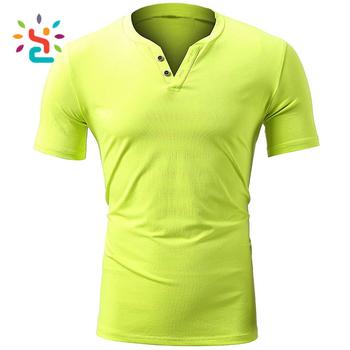0753920632f3 Wholesale fluorescent green shirt super soft cotton notched v neck t shirts