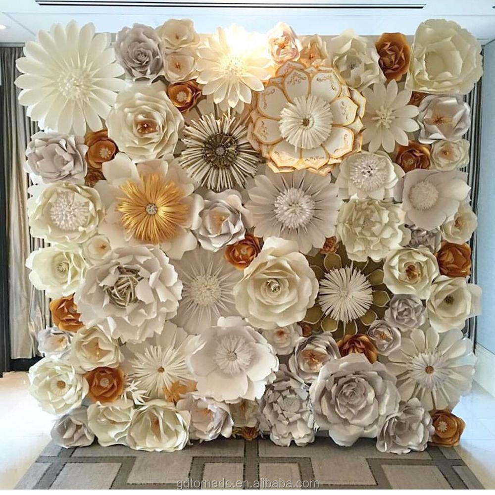 Tornado Crafts Customized Size Artificial Paper Flower Wall Wedding Backdrop Decoration