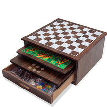 Deluxe 10-in-1 Schaken, Dammen, Tic Tac Toe, backgammon, Etc .. Houten board Game Set