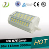 dimmable led corn lighting r7s 118mm 30w 3000lm replacing double ended halogen bulb