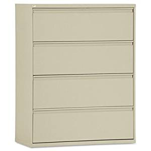 Four-Drawer Lateral File Cabinet, 42w x 19-1/4d x 53-1/4h, Putty, Sold as 1 Each