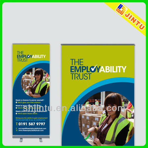 Small roll up banner stand for outdoor advertising display