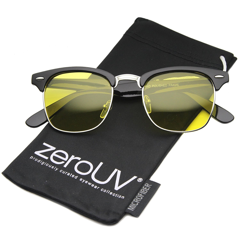 6579b02218 zeroUV - Square Club Master Semi-Rimless Half Frame Flat Top Horn Rimmed  Style Sunglasses