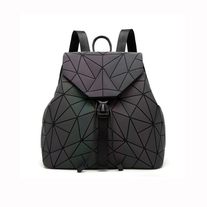 Travel Shoulder Folding Bag geometric For Lady Laptop Drawstring  Luminous Leather backpack men Women mochilas mujer School Bags