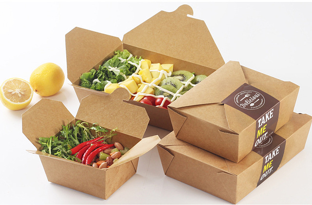 Disposable Kraft paper Food Packing Box Lunch Boxes Bento