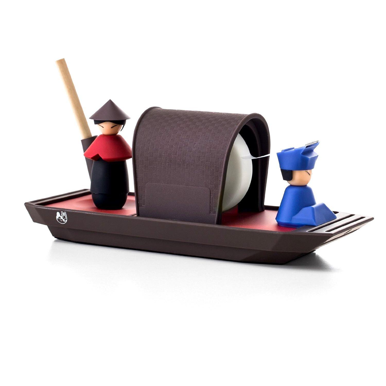 Original Asian Rowboat Design Desktop Accessory Hand Tape Dispenser Magnetic Paper Clip Pen Holder Organizer Sorter (Red)