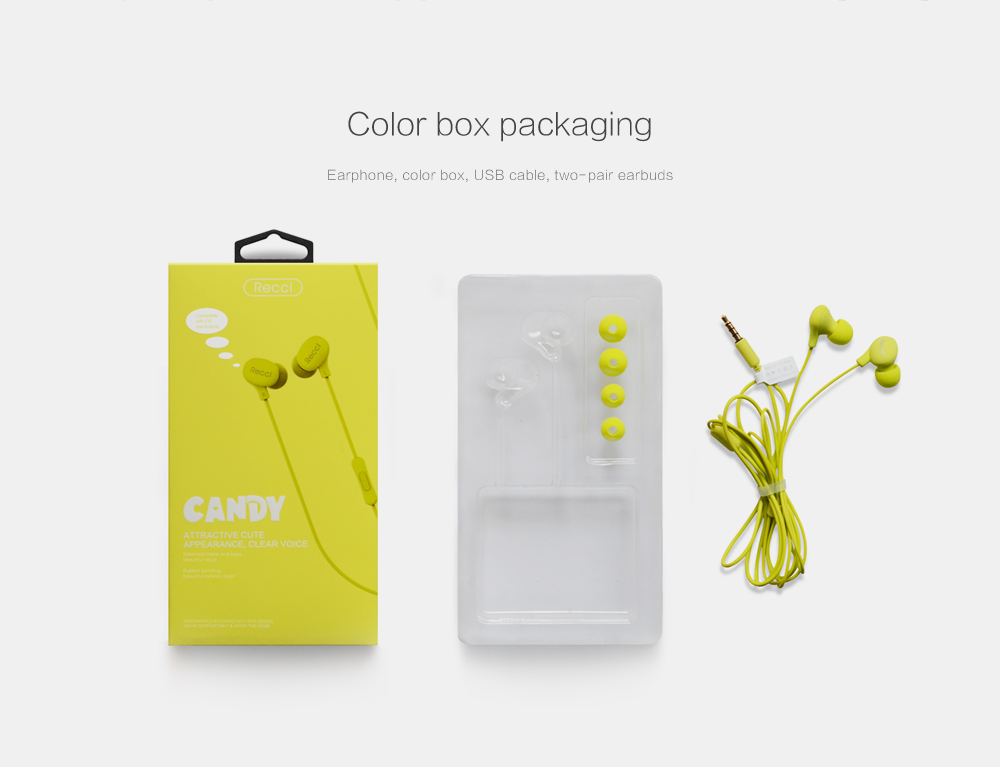 RECCI Brand Candy Series Portable Wired Earphone with Multi-color Option & Fashion Design Super Bass Earbud