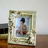polyresin photo frame with two cute angels for home decor
