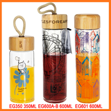 18oz Wholesale eco-life silicone rubber case borosilicate glass water bottle with infuser