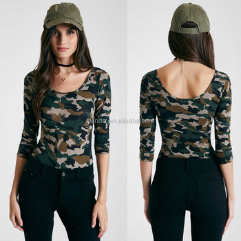 Cotton Rayon Spandex Fabric 3 4 Sleeves Allover Print Camouflage Scoop Neck  Bodysuit Ladies Tight ffb4ed5c3