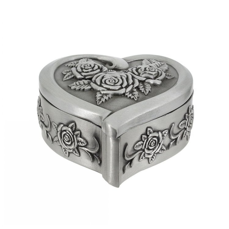 Antique Design Rose Engraving Heart Shape Metal Ring Jewelry Box