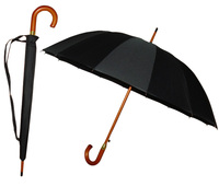 25inch 16ribs semi automatic black color wooden handle mens umbrella