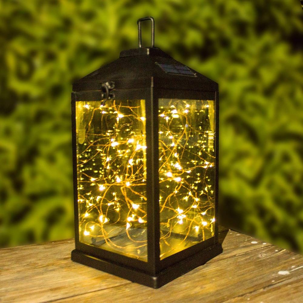 Outdoor Solar  Hanging Lanterns Waterproof Metal Decorative Table Light  Warm White Front Door Yard Garage Porch Light