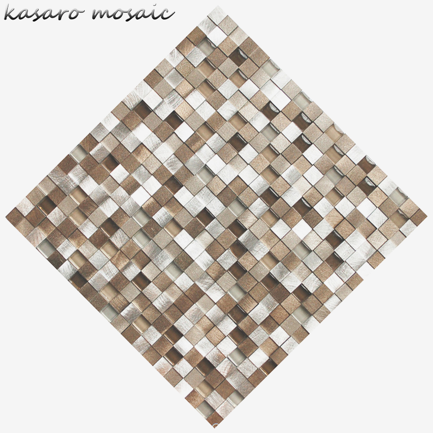 3D Metal Silver Color High Quality Aluminium Square Silver Mosaic Tile