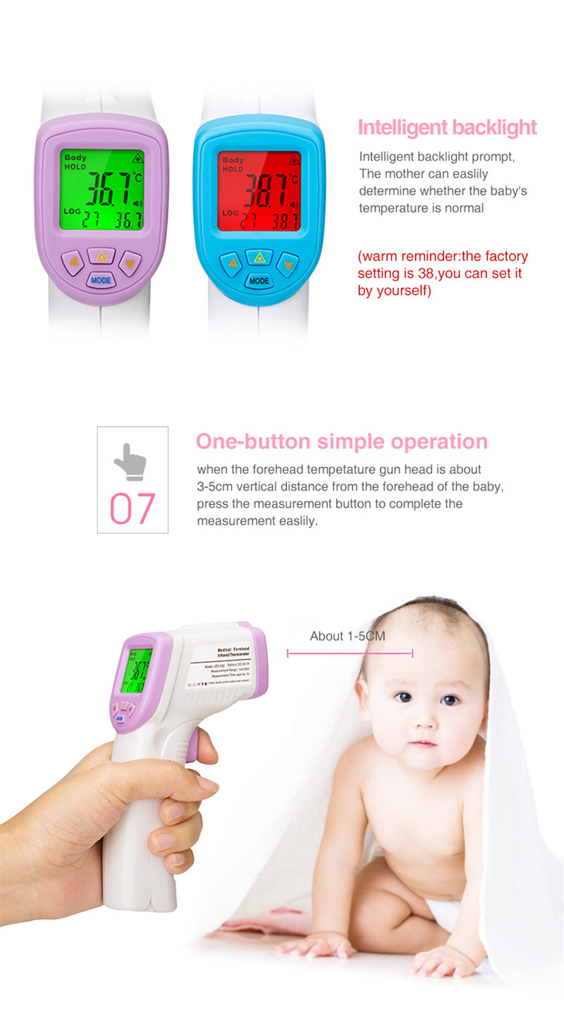 Baby Adult Forehead Non Contact Infrared Thermometer With Lcd Backlight - KingCare | KingCare.net
