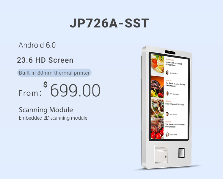 "Jepower JP762A-SST 23.6"" Self-service Ordering Payment Kiosk"