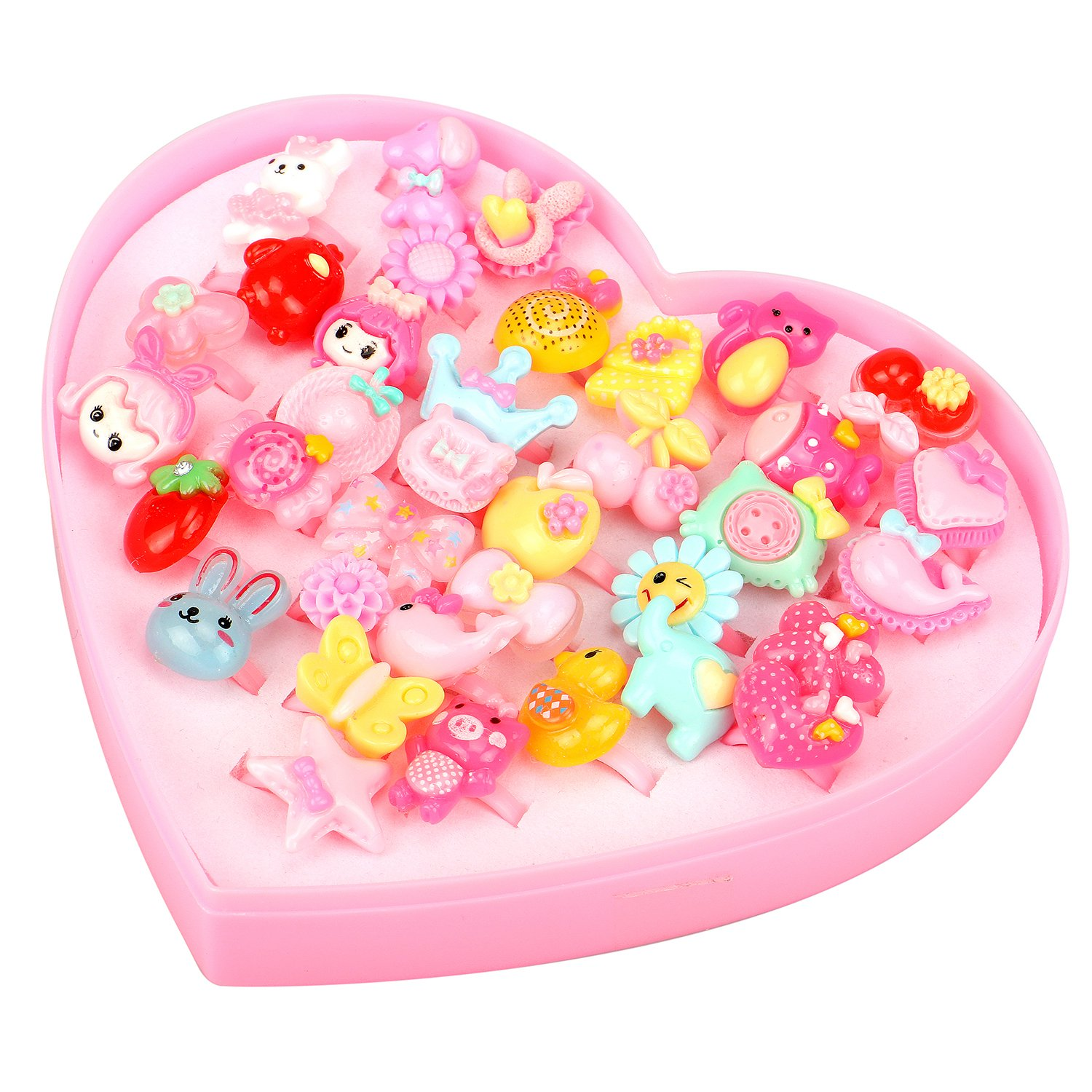 Little Girls Princess Jewelry Rings Value Set Pretend Play and Dress Up Rings for Kids Birthday Party Supplies Pack of 36 Pcs (Heart-Shaped Box)