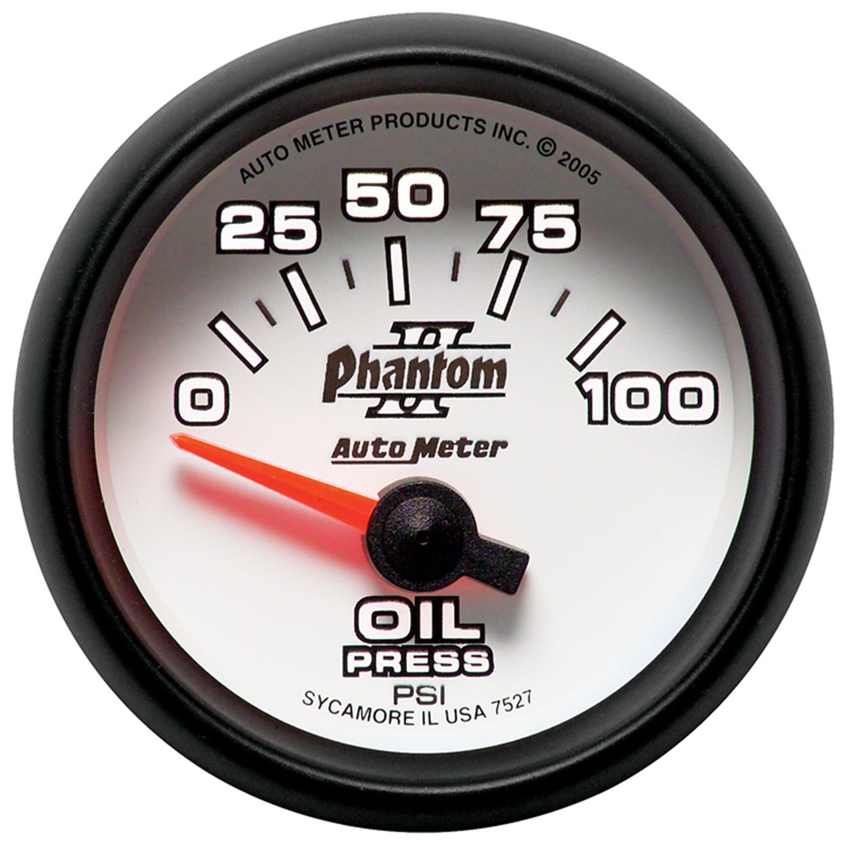 """Auto Meter 7527 Phantom II 2-1/16"""" 0-100 PSI Short Sweep Electric Oil Pressure Gauge"""