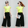 Latest Fashion Korean Style Summer Clothing Designs Office Ladies Wear Chiffon Top & Maxi Pant