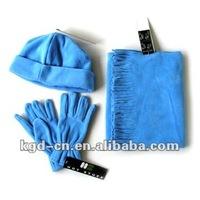 fleece winter beanie hat scarf and gloves set