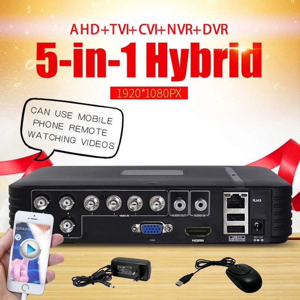 FidgetFidget Security CCTV 8CH AHD DVR NVR HD IP CVI TVI Analog 5IN1 Hybrid Video Recorder US