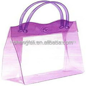 Clear Plastic Bag with Handles, PVC Clear Plastic Bags