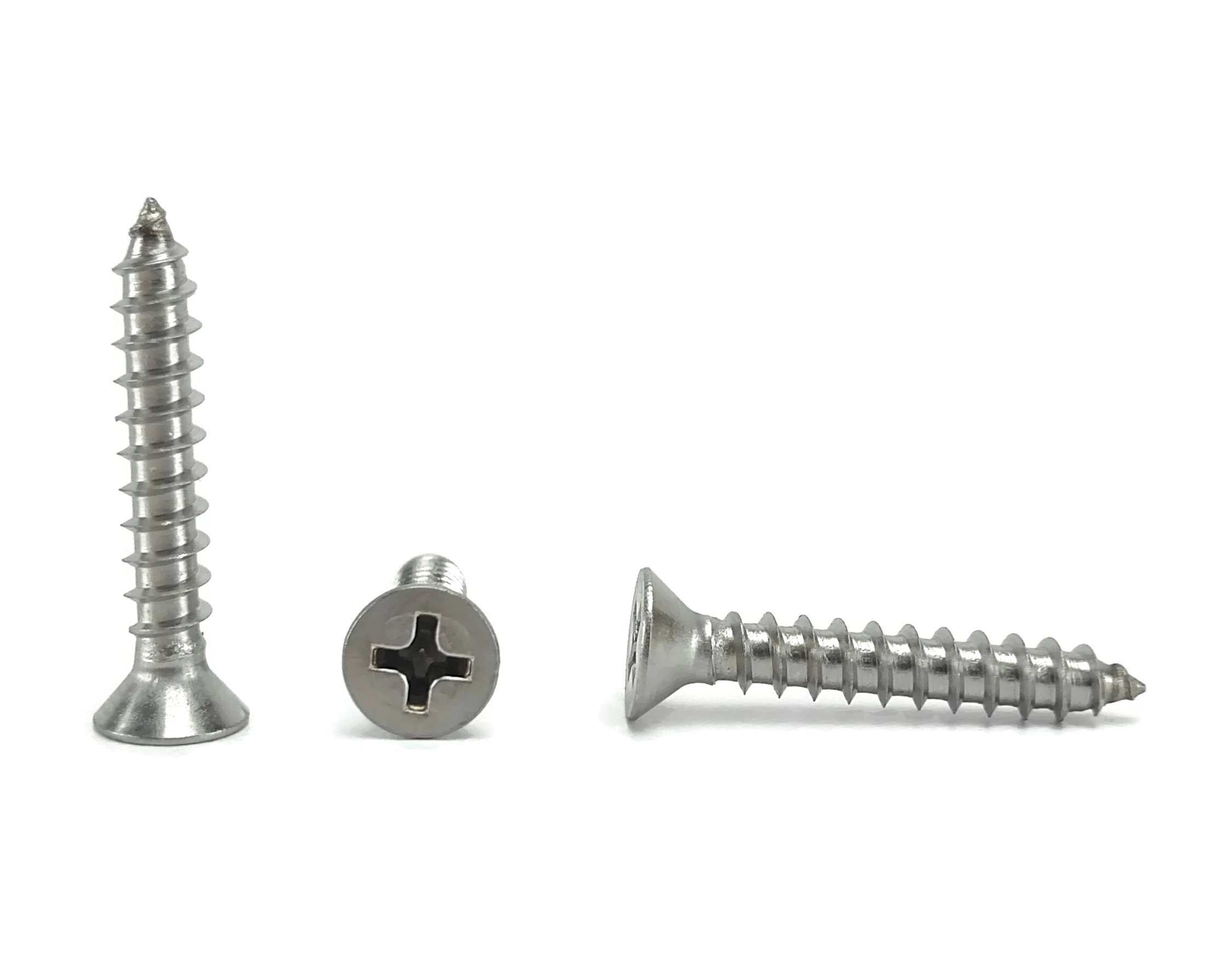 "#8 X 1"" Stainless Phillips Flat Head Sheetmetal Screw (1/2"" to 2"" in Listing) 100 Sheet Metal Screws, 82 Degrees (#8 x 1"")"