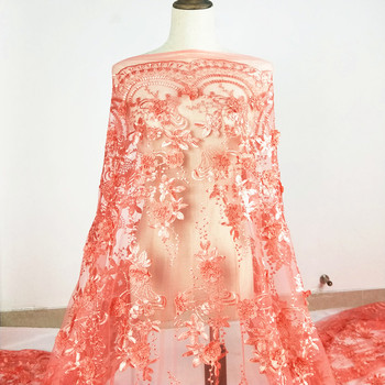 100 polyester pink orange french embroidered net 3D flower lace fabric for wedding dresses