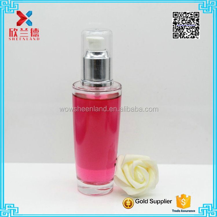 100 ml glass cosmetic cream lotion bottle with pump for sale