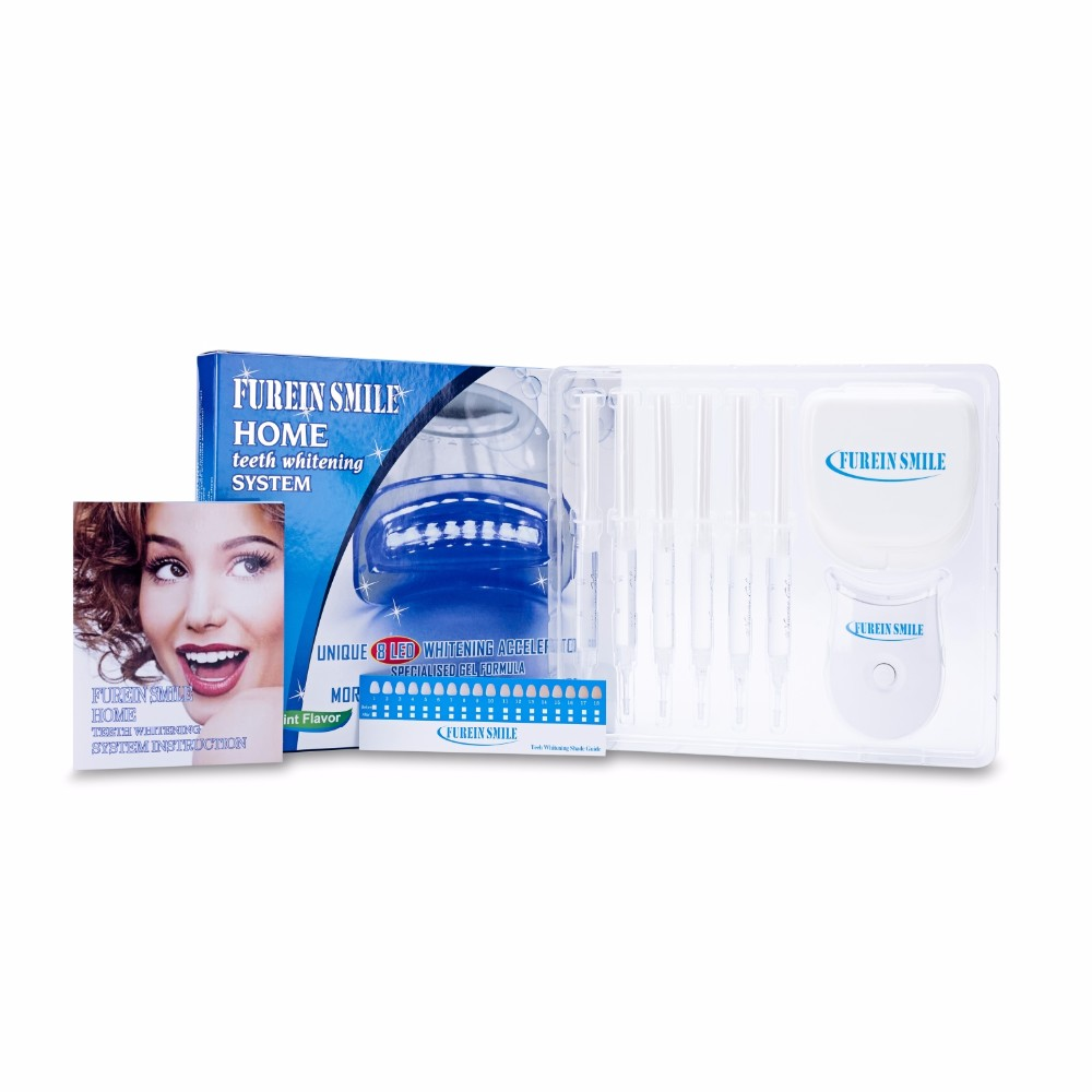 Private Label Tooth Bleken Thuis Tanden Kit Met 8 LED Laserlicht, Silicon Bitje, CP/HP/Niet Peroxide Gel