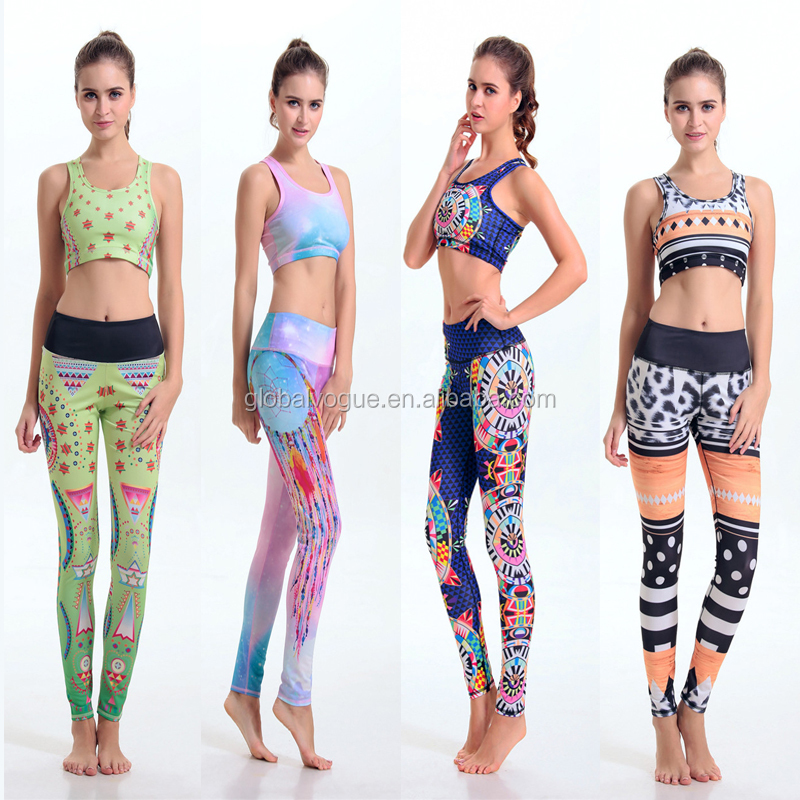 Hot Spring abstract geometric digital precision printing quality elastic <strong>sports</strong> and fitness yoga clothes s