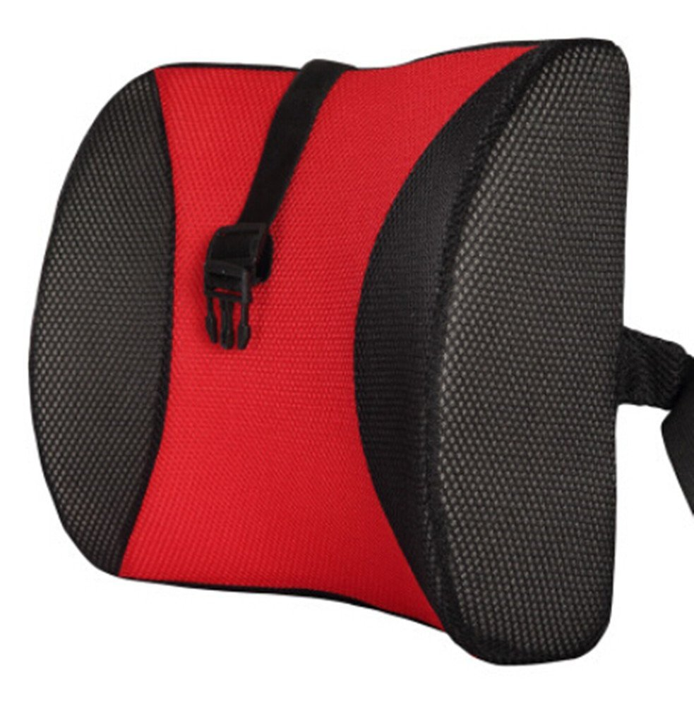 Moyishi Cool Black and Red High Resilient Memory Foam Seat Back Lumbar Cushion Support Pillow Car Office Chair Back Support