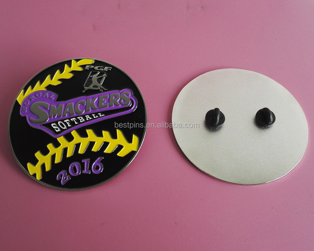 New Custom Made Ball Smackers 2017 Softball Sports Lapel Pin with Rubber Clasp