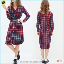 2016 Plaid Red Flannel Shirt Dress